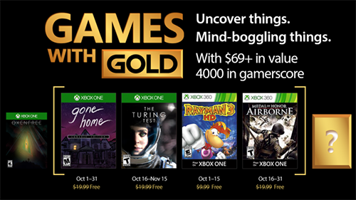 Xbox's Games with Gold lineup for October 2017.
