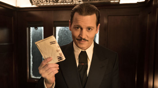 Ratchett (Johnny Depp) tries to get Poirot to be his bodyguard