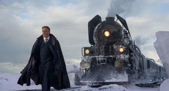 Poirot outside the stranded train