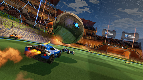 The detailed grass in other versions of Rocket League isn't present on the Switch.
