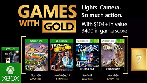 Xbox's Games with Gold lineup for November 2017.