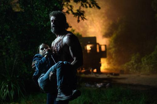 Hugh Jackman as Logan/Wolverine and Dafne Keen as Laura