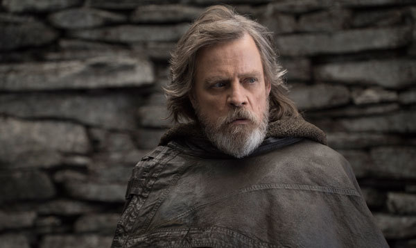 Luke Skywalker (Mark Hamill) is troubled and worried