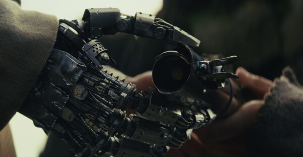 Luke takes his old light saber from Rey