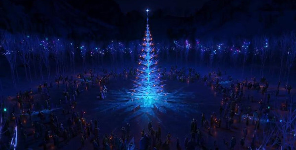 The townsfolks celebrate Elsa's crystal tree