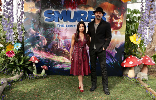 Demi Lovato (Smurfette) and Joe Manganiello (Hefty) at the event