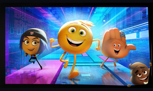 Emoji movie characters Jailbreak, Gene and Hi-5