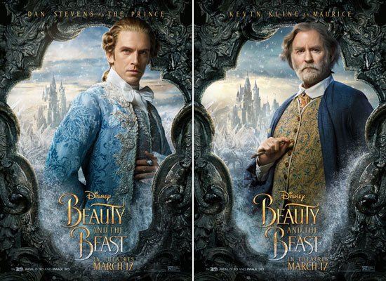 Dan Stevens as the Prince and Kevin Kline as Maurice