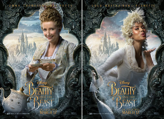 Emma Thompson as Mrs. Potts and Gugu Mbatha-Raw as Plumette