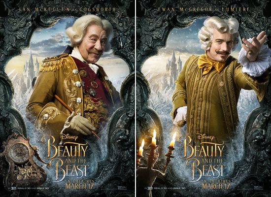 Ian McKellen as Cogsworth and Ewan McGregor as Lumière