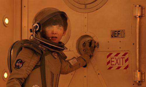 Gardner (Asa) goes outside on Mars