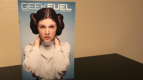 The included magazine with a Carrie Fisher cover.