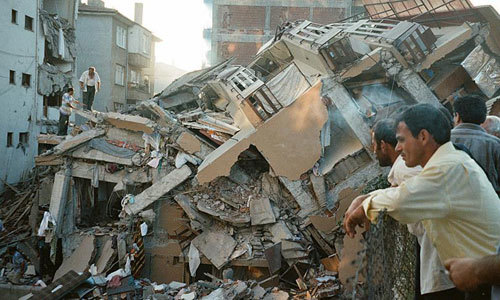 Collapsed building in Ankara, Turkey earthquake