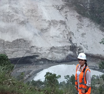 Menzer at the site of a huge landslide