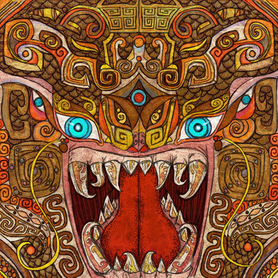 Art depicting the ancient Taotie monster