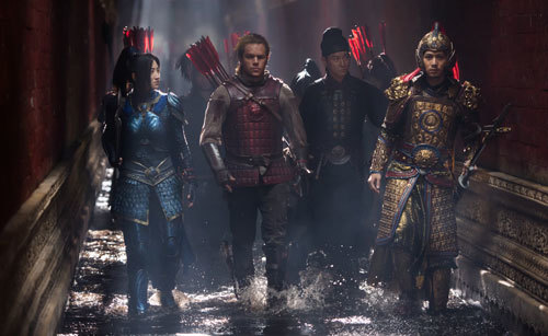 Matt as mercenary William Garin with fellow soldiers