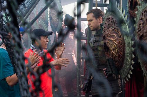Director Zhang Yimou and translator with Matt on set