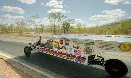 Solar car in race