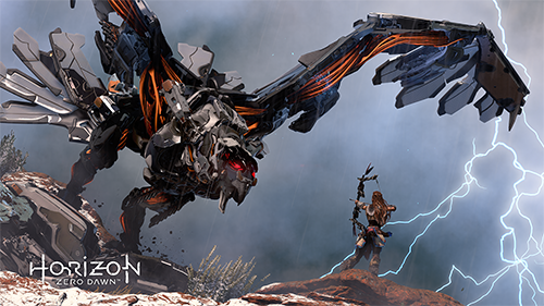 Aloy fights a Stormbird, one of the strongest machines in the game.