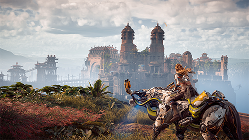 Aloy rides outsides of the kingdom of Meridian.