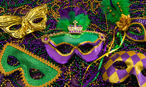 Masks with feathers are traditional Mardi Gras costumes