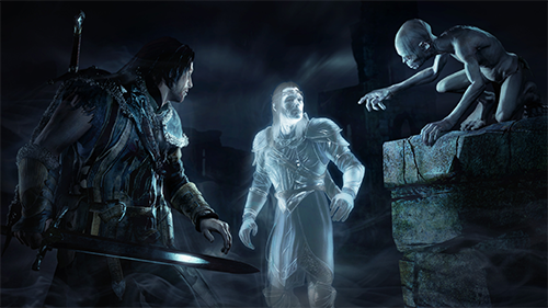 Talion and Celebrimbor chatting with Gollum in the original game.