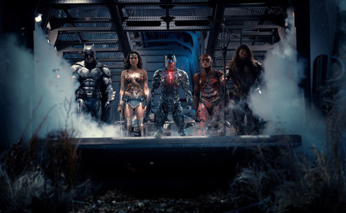 Ben Affleck as Batman, Gal Gadot as Wonder Woman, Ray Fisher as Cyborg, Ezra Miller as The Flash and Jason Momoa as Aquaman