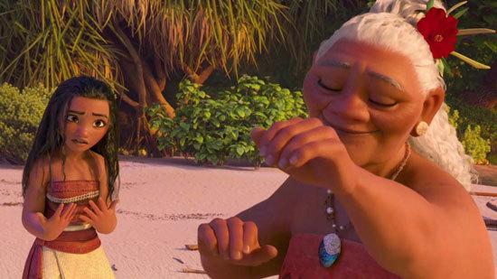 Moana's grandmother dances near the sea