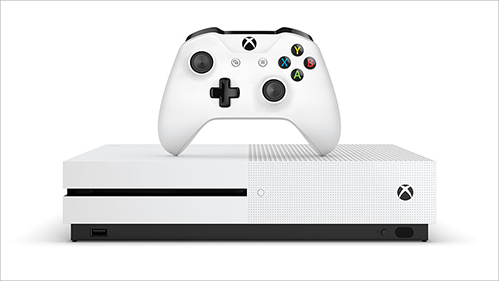 2016's Xbox One S and accompanying controller.
