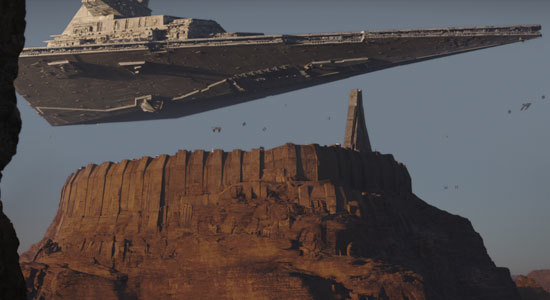 Imperial star cruiser searches for rebels