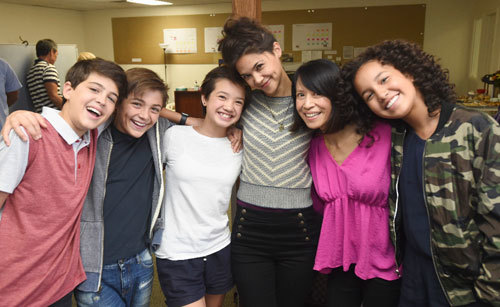 The cast in the production office with Sofia far right