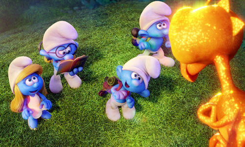 Smurfette and the guys meet a dragonfly