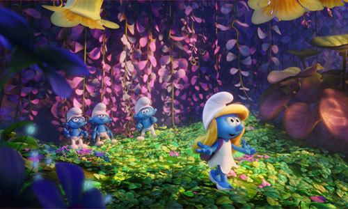 Smurfette and friends among the flowers
