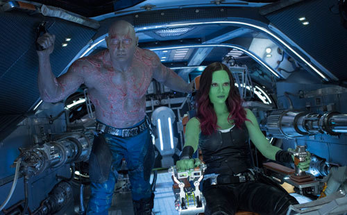 Gamora at the controls with Drax (Dave Bautista) at her side