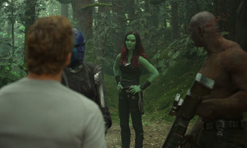 In a forest, Gamora, Star Lord, Nebula and Drax plan their next move