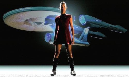 Zoe as Uhura in Star Trek
