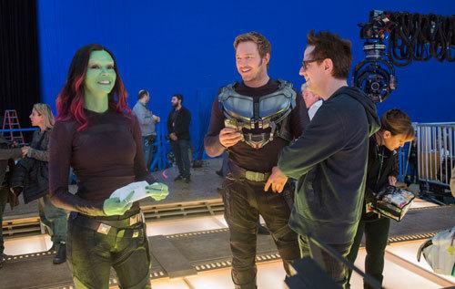 Zoe Saldana and Chris Pratt on set with director James Gunn