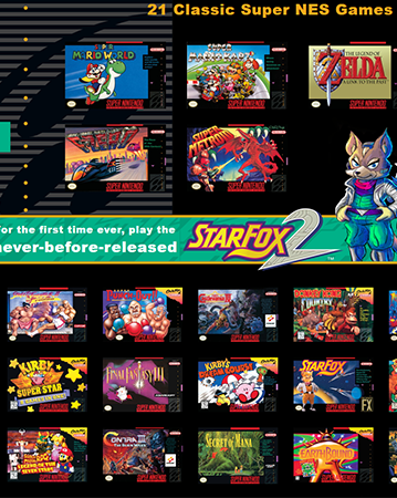 An awesome bundle of games including the infamous Star Fox 2.