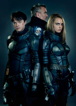 Dane and Cara suited up with their director Luc Besson