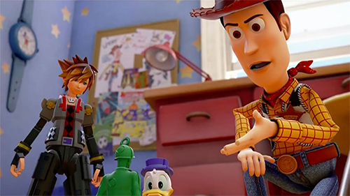 An homage to a scene from the original Toy Story.