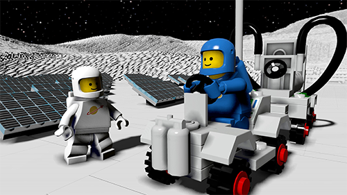 A blue astronaut, maybe a call back to the LEGO movie?