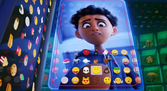 Alex (Jake T. Austin) looking at all the emojis