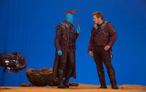 Yondu (Michael Rooker) wired up to fly on set