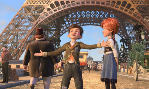 Victor and Félicie in front of partially-complete Eiffel Tower