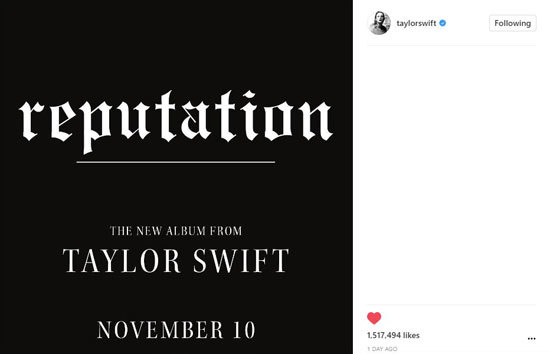 Taylor Swift with release reputation on November 10