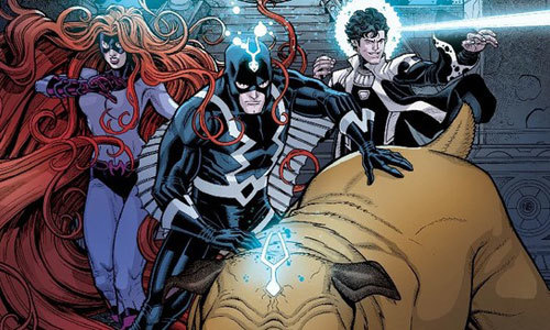 Medusa, Black Bolt, Lockjaw and Maximus in the comics