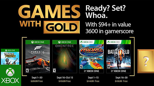 Xbox's Games with Gold lineup for September 2017.