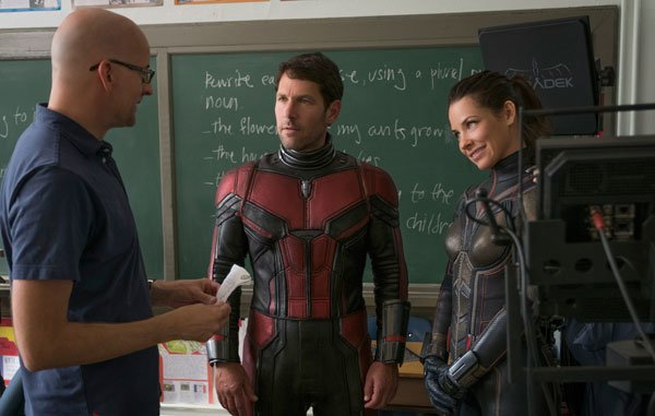 Director Peyton Reed with Paul and Evangeline on set