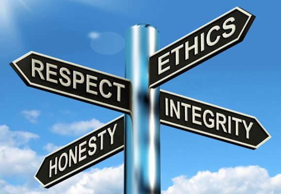 With honesty, comes respect, ethics and integrity.