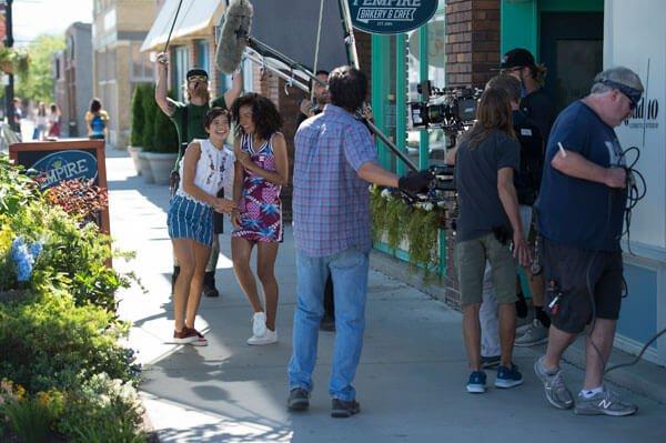 Peyton with Sophia on set